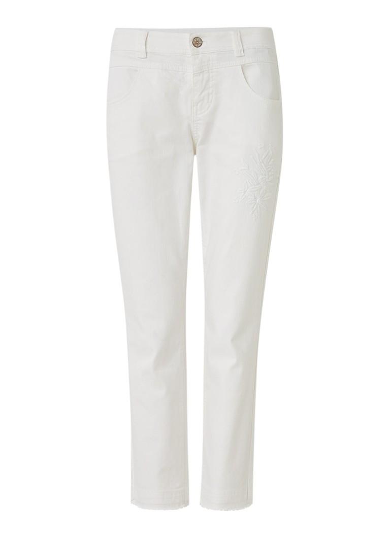 Taifun Cropped slim fit jeans met borduring