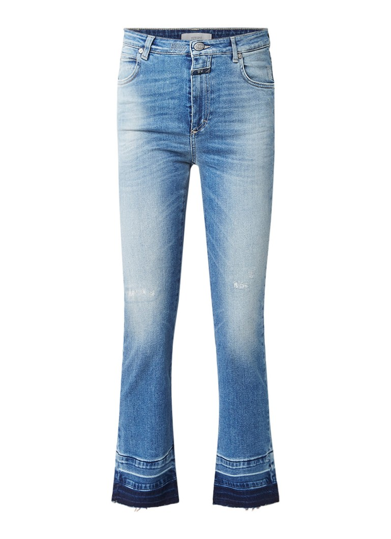 Closed Rose cropped high rise straight fit jeans met destroyed details