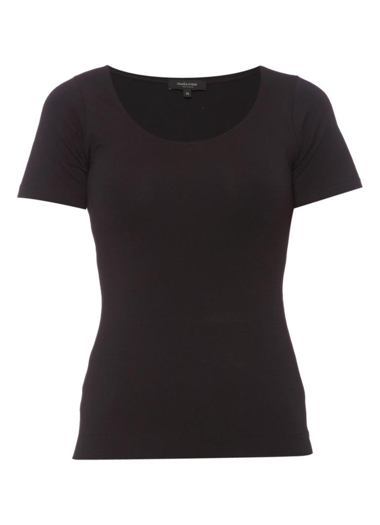 Claudia Sträter Basic T-shirt met ronde hals roze