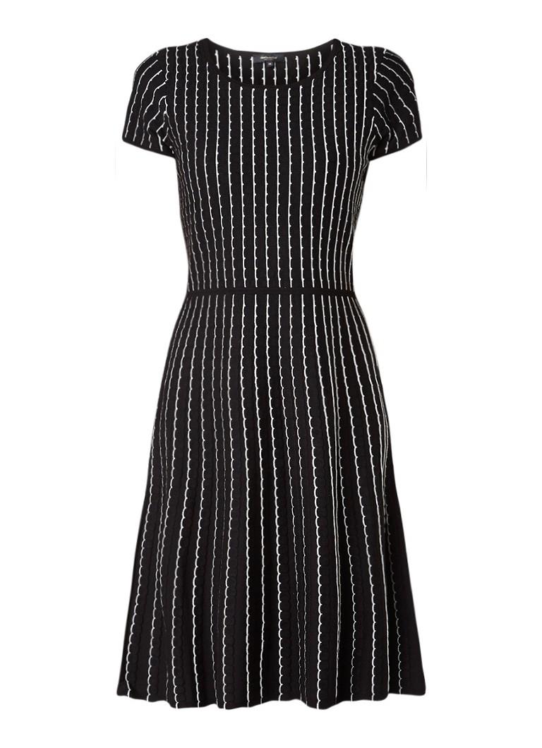 Claudia Sträter A-lijn jurk met gestructureerd streepdessin zwart