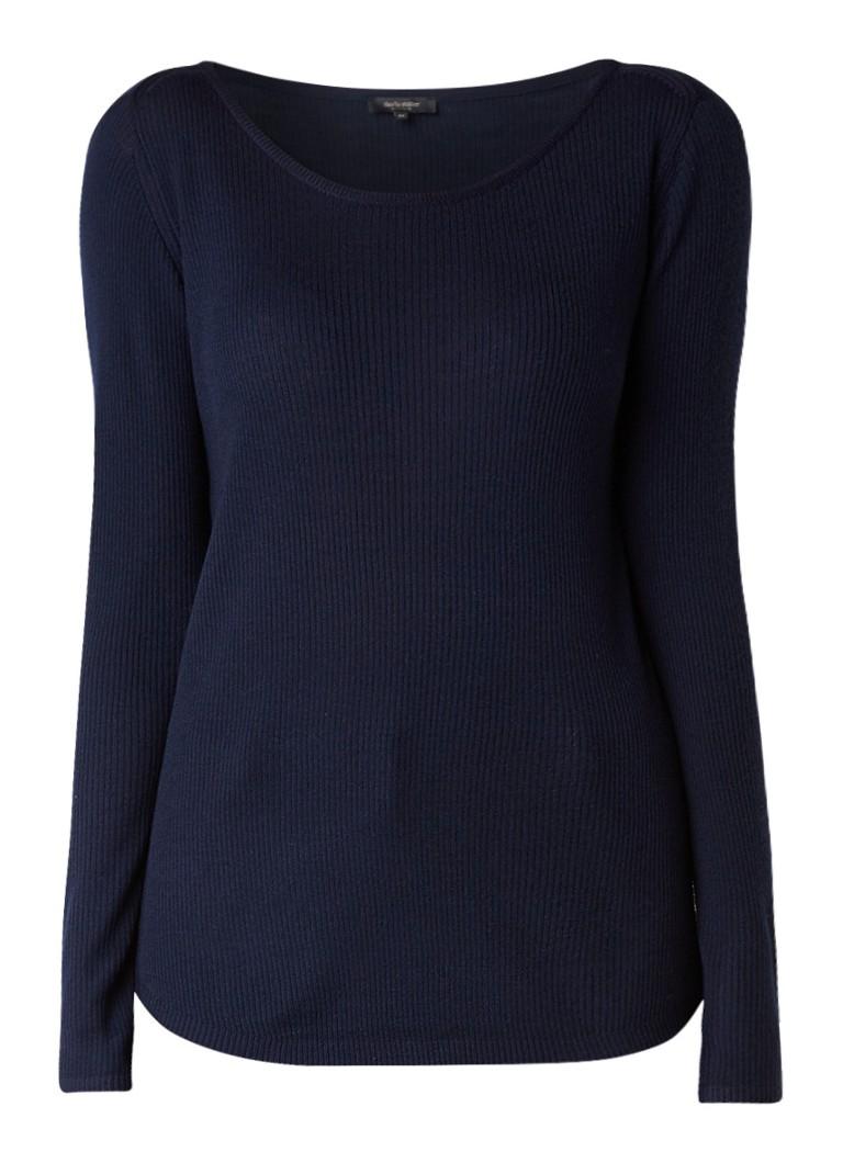 Claudia Sträter Ribgebreide pullover van wol roze