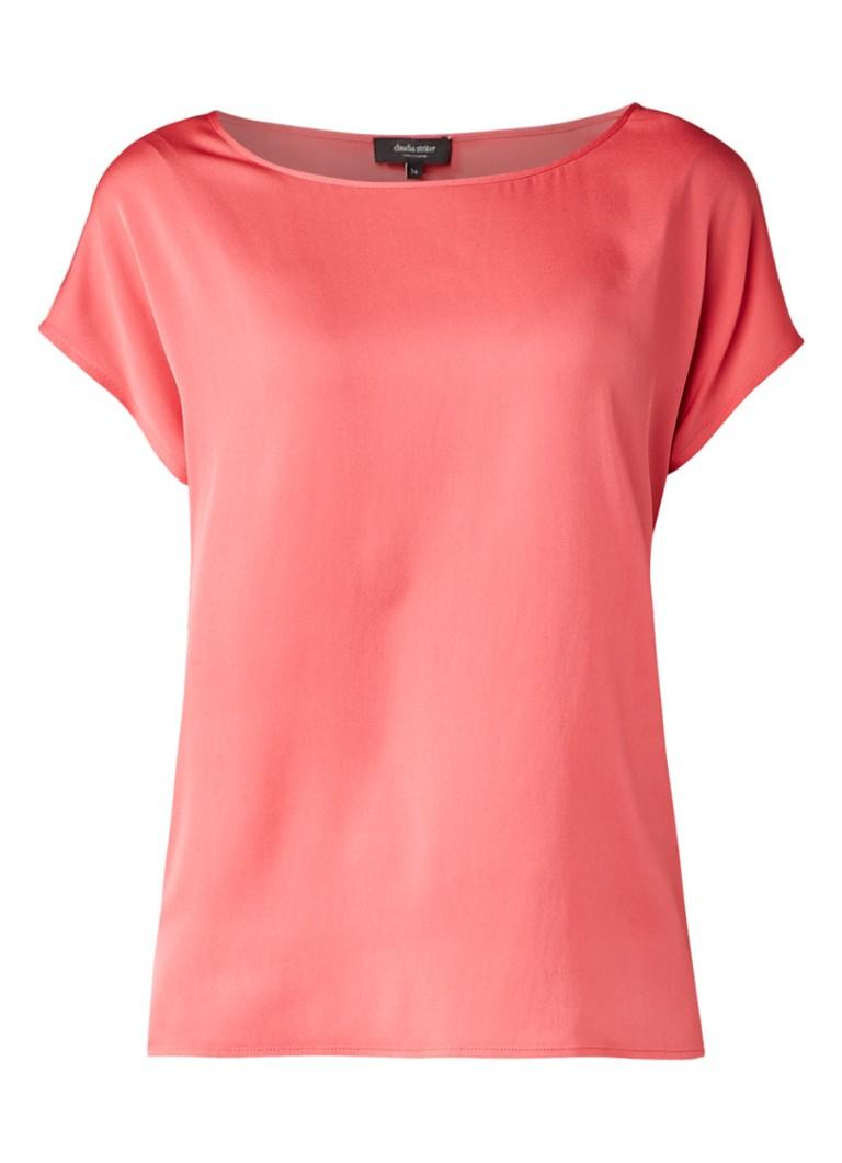 Claudia Sträter Boxy top van zijde met splits roze