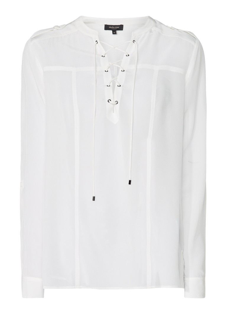 Claudia Sträter Semi-transparante blouse van zijde roze