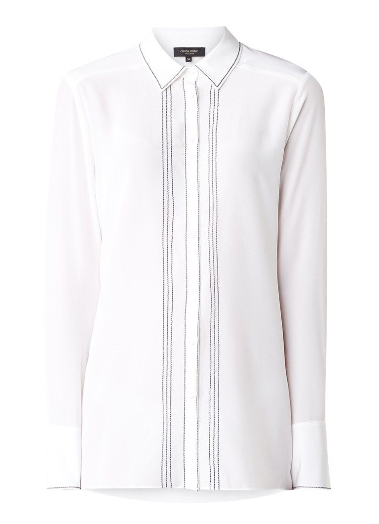 Claudia Sträter Semi-transparante blouse van zijde met sierstiksels roze