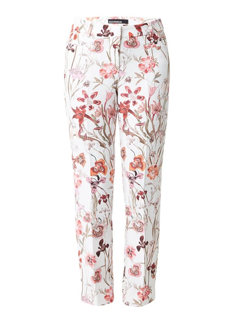 Claudia Sträter Cambio pantalon met bloemendessin roze