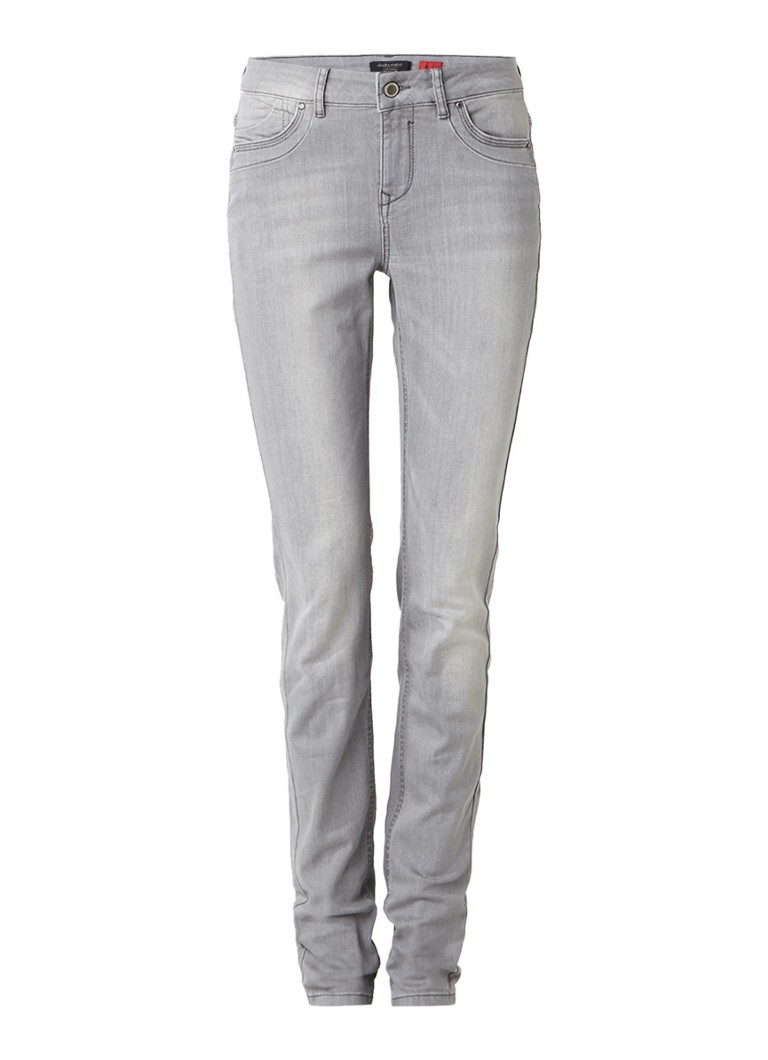 Claudia Sträter Mid rise skinny jeans met faded look roze
