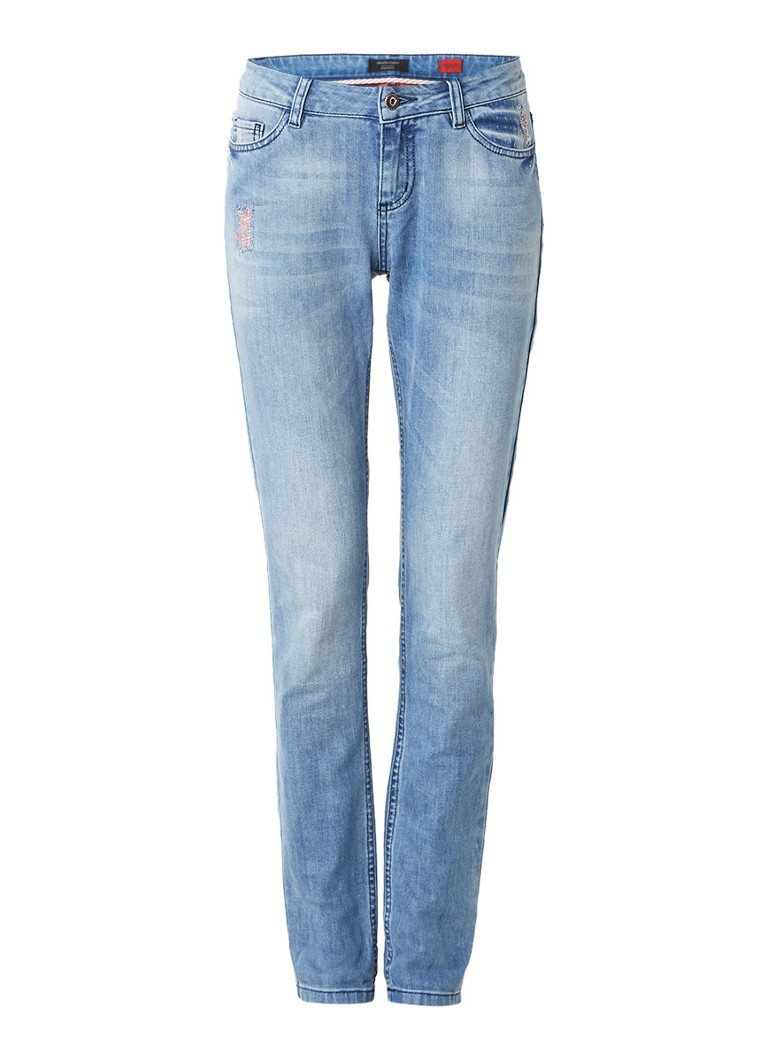 Claudia Sträter Mid rise skinny jeans met destoyed details roze
