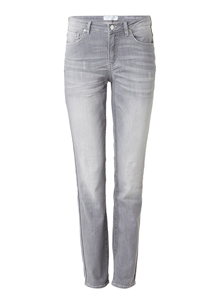Claudia Sträter Masha mid rise skinny jeans met faded look roze