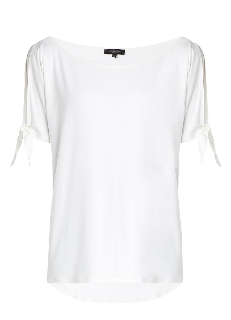 Claudia Sträter Cold shoulder top met strikdetail roze