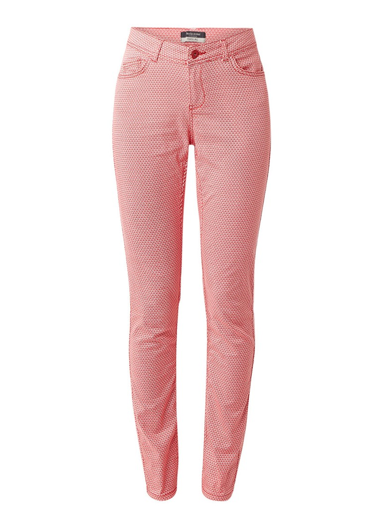 Claudia Sträter Slim fit broek met stretch en dessin roze