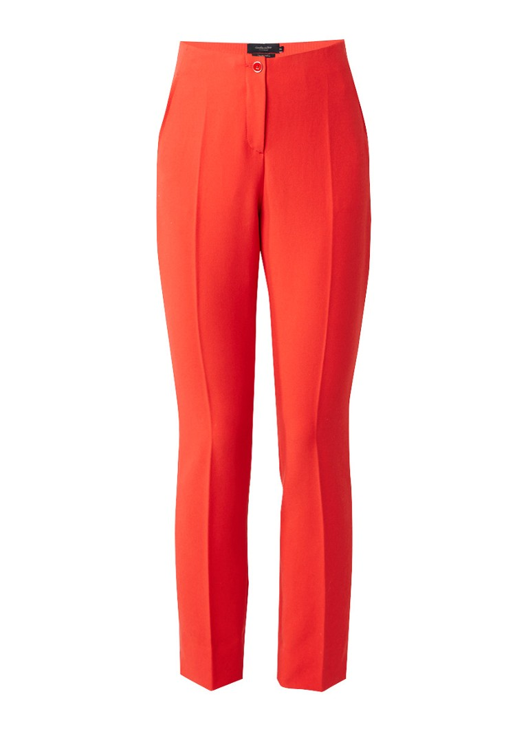 Claudia Sträter Straight fit pantalon met persplooien roze