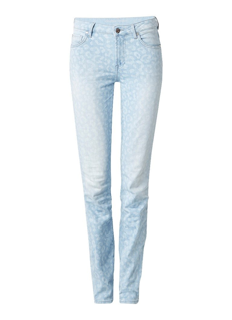 Claudia Sträter Mid rise skinny jeans met luipaarddessin roze