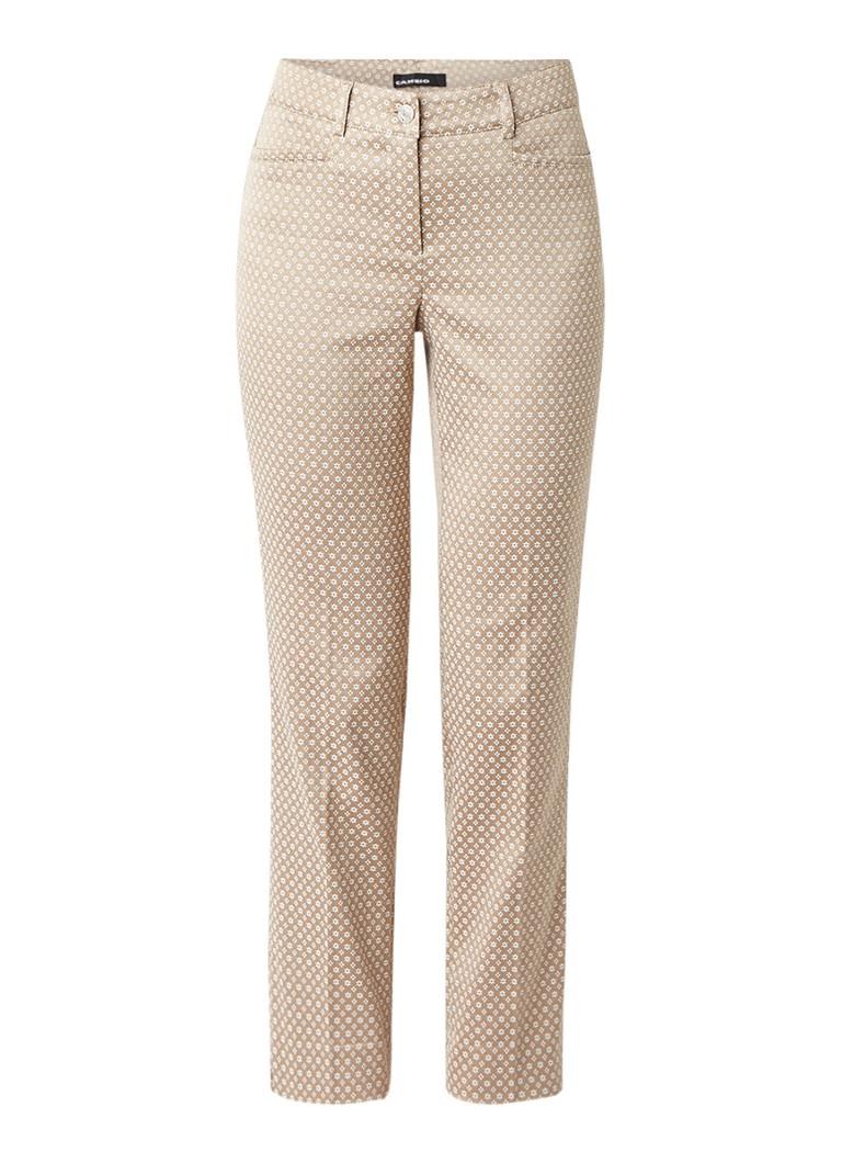 Claudia Sträter Cropped slim fit pantalon met dessin roze