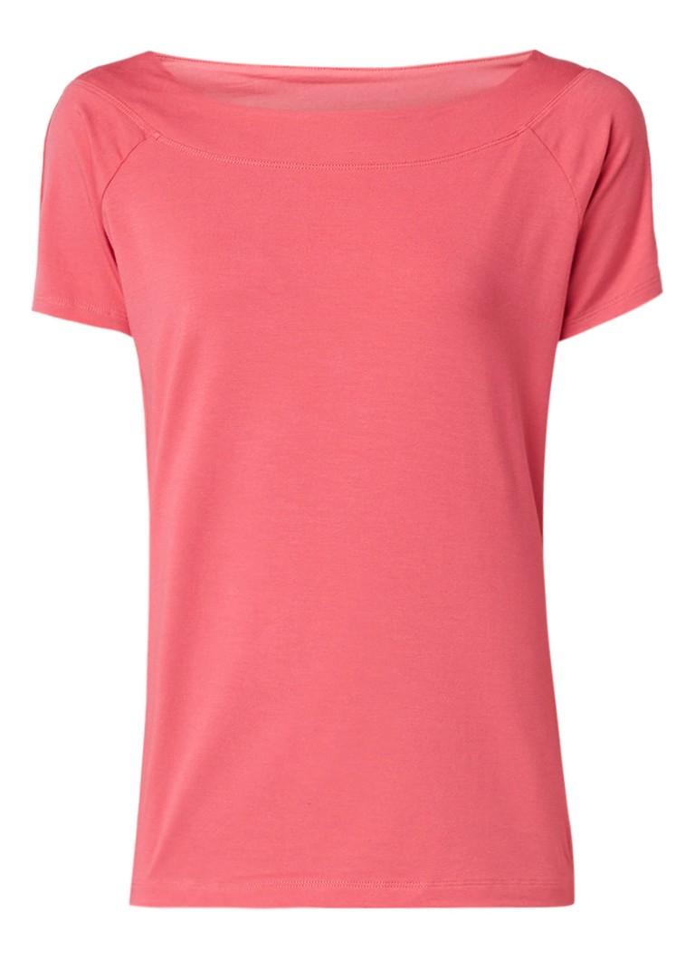 Claudia Sträter Losvallend T-shirt met wijde hals roze