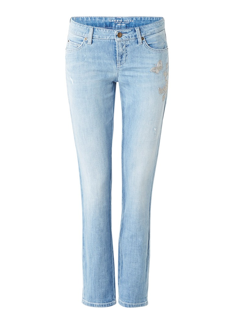 Claudia Sträter Modern rise slim fit jeans met borduring roze