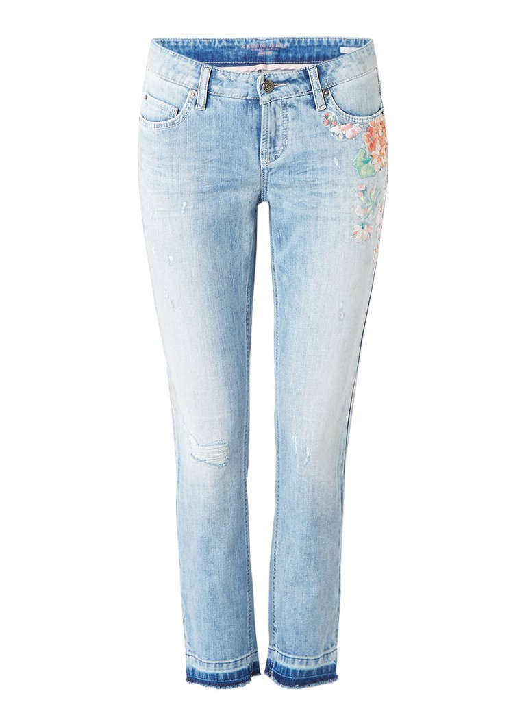Claudia Sträter Modern fit slim fit jeans met borduring roze