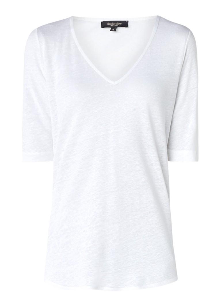 Claudia Sträter T-shirt van linnen met V-hals roze