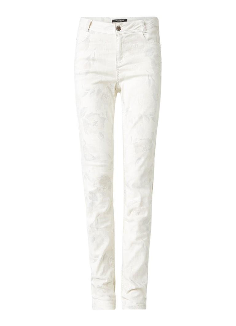 Claudia Sträter Slim fit jeans met subtiel bloemendessin roze