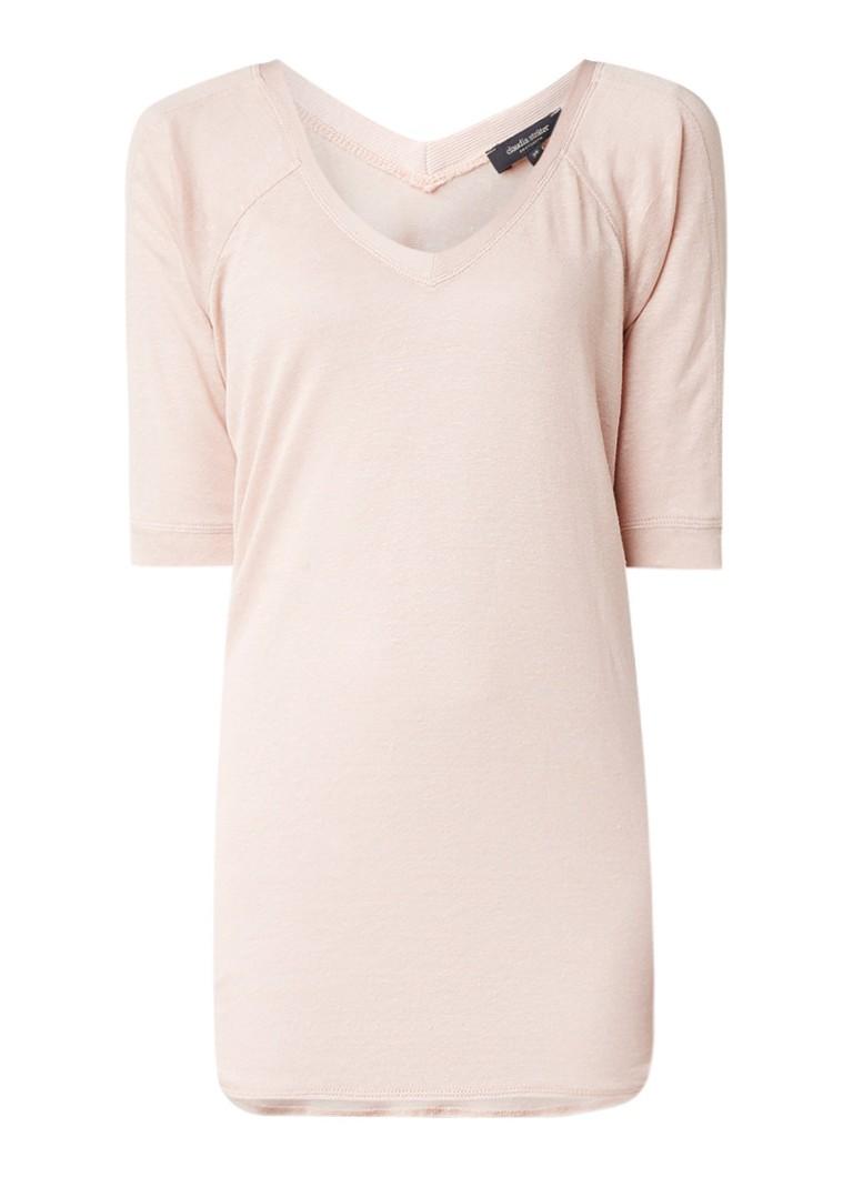 Claudia Sträter Semi-transparant T-shirt in linnenblend roze