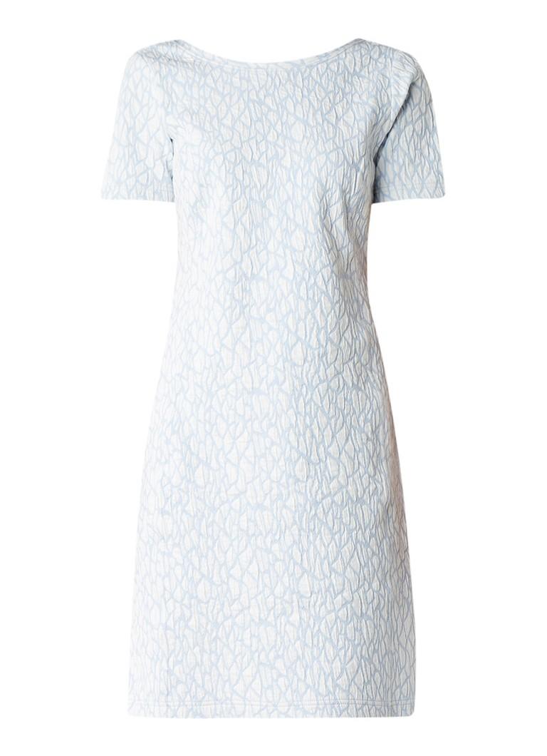 Claudia Sträter Jersey jurk met jacquarddessin lichtblauw