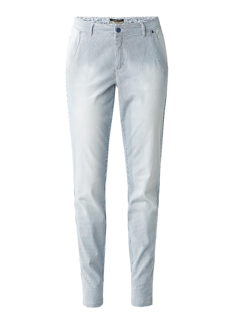 Claudia Sträter Mid rise slim fit jeans met streepdessin roze