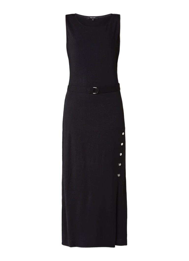 Claudia Sträter Fijngebreide maxi-jurk met knoopdetail zwart