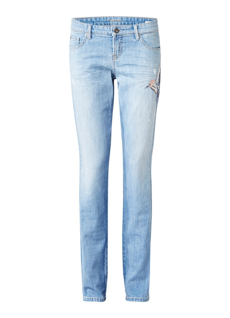 Claudia Sträter low rise straight fit jeans met kolibrie-applicatie roze