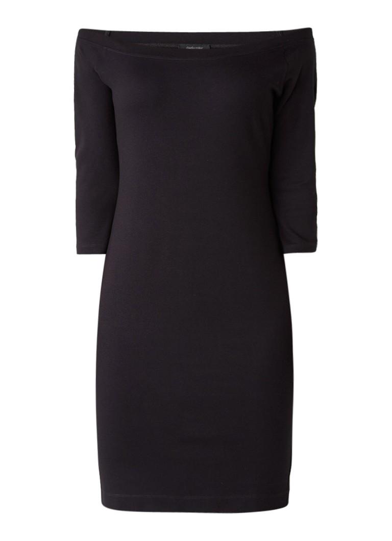 Claudia Sträter Jersey off shoulder jurk met driekwartsmouw zwart