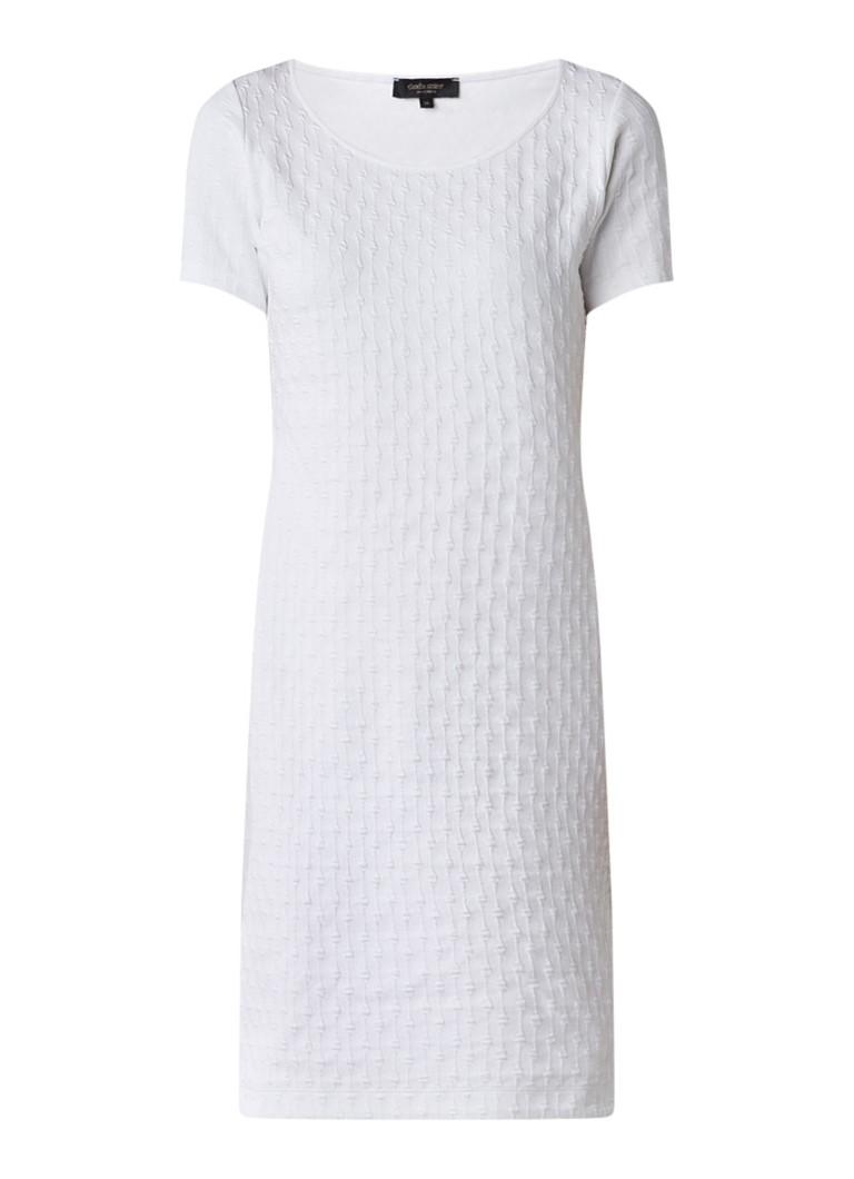 Claudia Sträter Jersey jurk met ingeweven structuur wit