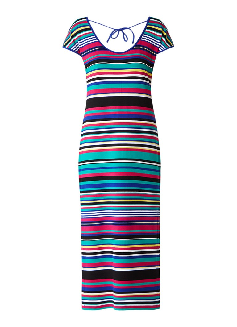 Claudia Sträter Jersey jurk met streepdessin en zijsplits multicolor