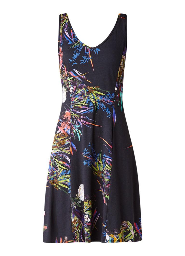 Claudia Sträter A-lijn jurk van jersey met bloemdessin donkerblauw