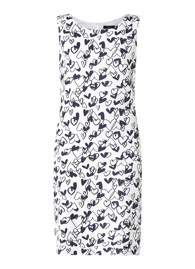 Claudia Sträter Midi-jurk met stretch en dessin wit