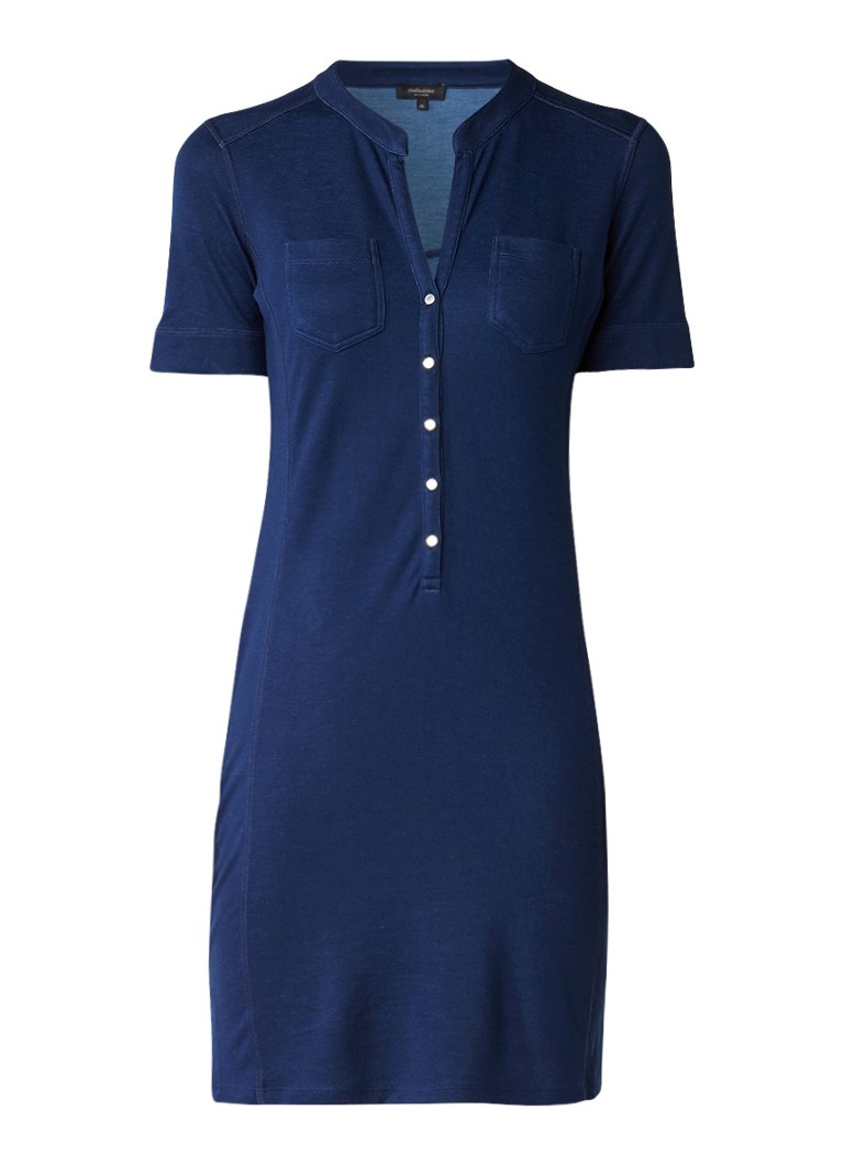 Claudia Sträter Jersey blousejurk met steekzakken donkerblauw
