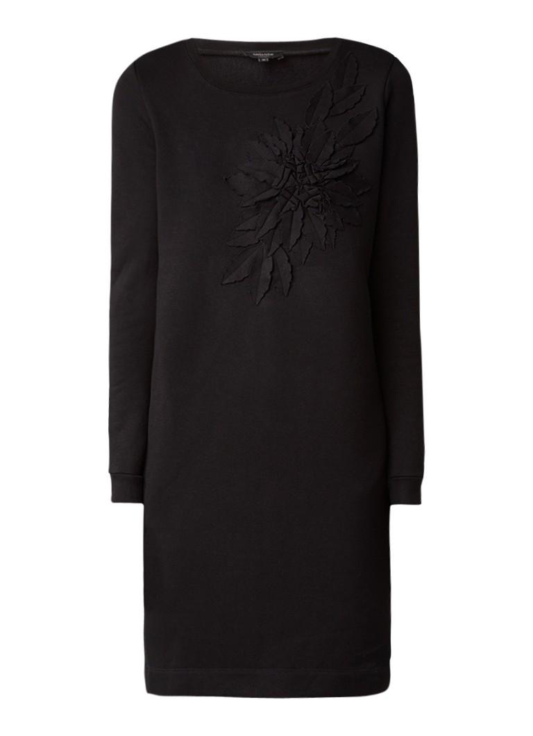 Claudia Sträter Sweaterjurk met bloemapplicatie grijsmele