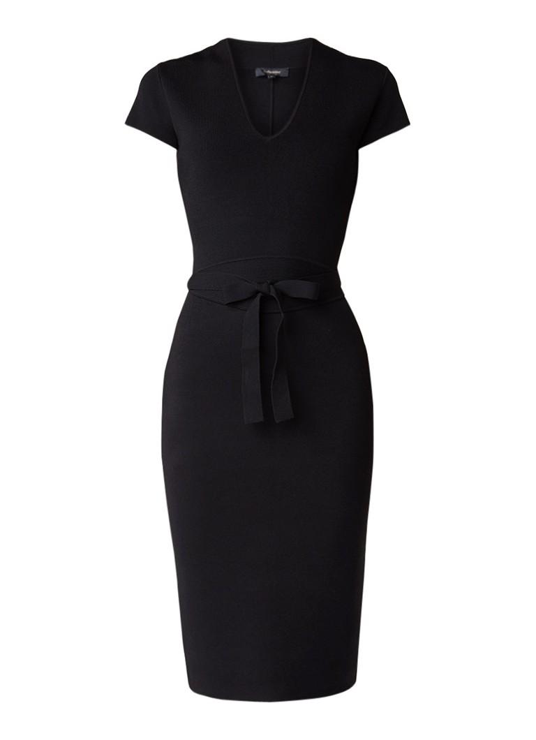 Claudia Sträter Ribjersey jurk met strikceintuur en stretch zwart