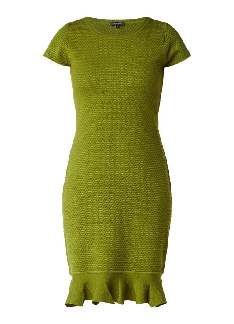 Claudia Sträter Fijngebreide jurk met structuur en volant groen