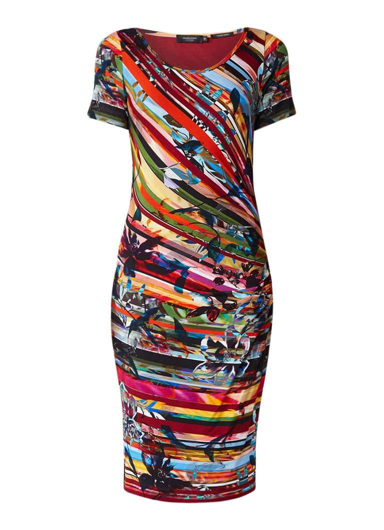 Claudia Sträter Stretchjersey jurk met kleurrijk streepdessin multicolor
