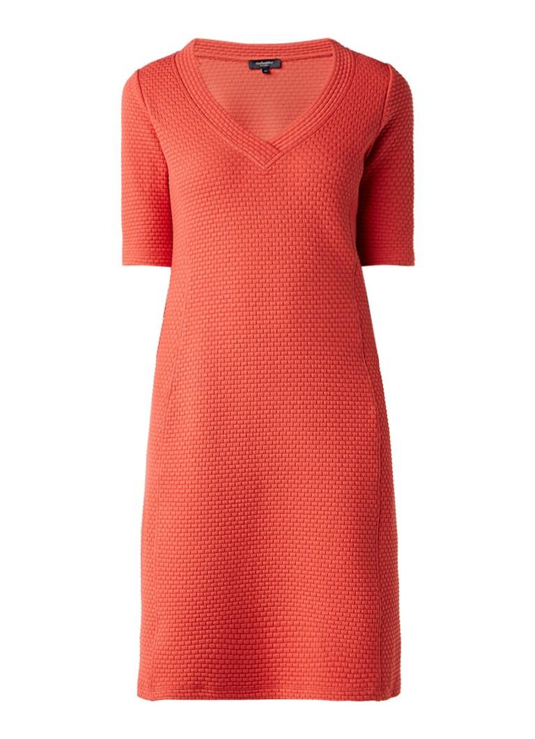 Claudia Sträter Jersey jurk met ingeweven structuur oranje