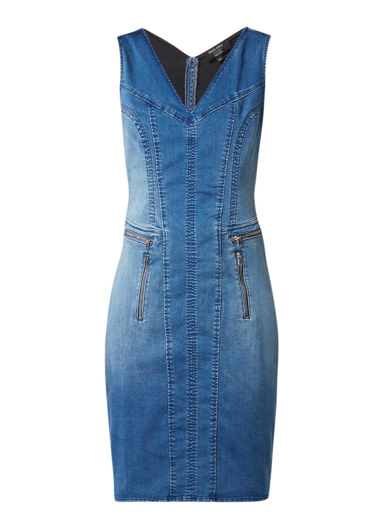 Claudia Sträter Denim midi-jurk met ritsdetails indigo