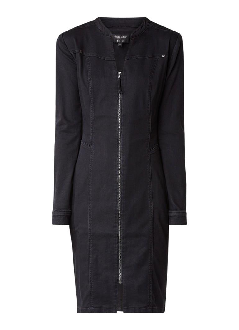 Claudia Sträter Midi-jurk van denim met ritssluiting zwart