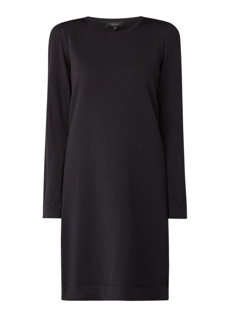 Claudia Sträter Midi-jurk met uitneembare manchet en geplisseerde achterpand zwart