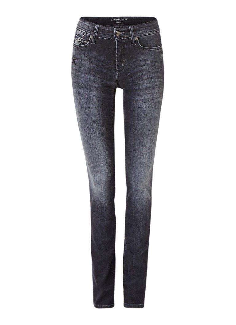Jeans Claudia Strater Parla mid rise skinny fit jeans met applicaties Donkergrijs