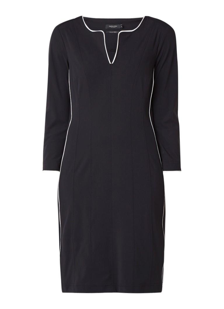 Claudia Sträter Midi-jurk met contrasterende bies zwart
