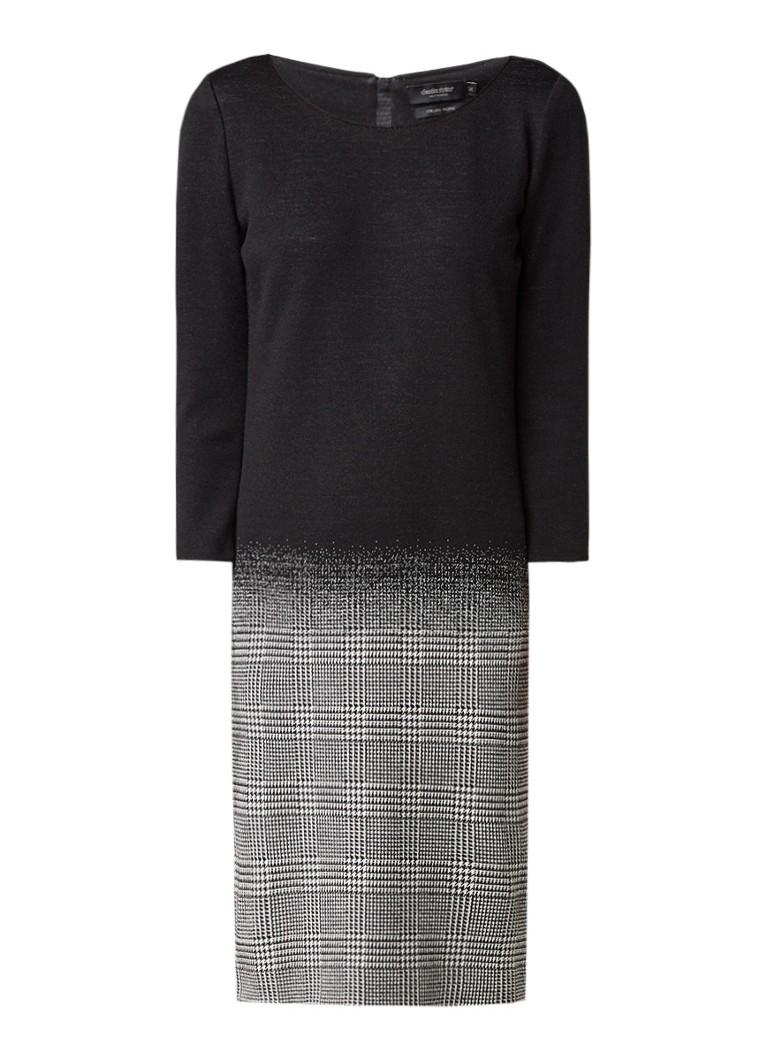 Claudia Sträter Fijngebreid midi-jurk met pied-de-poul dessin zwart