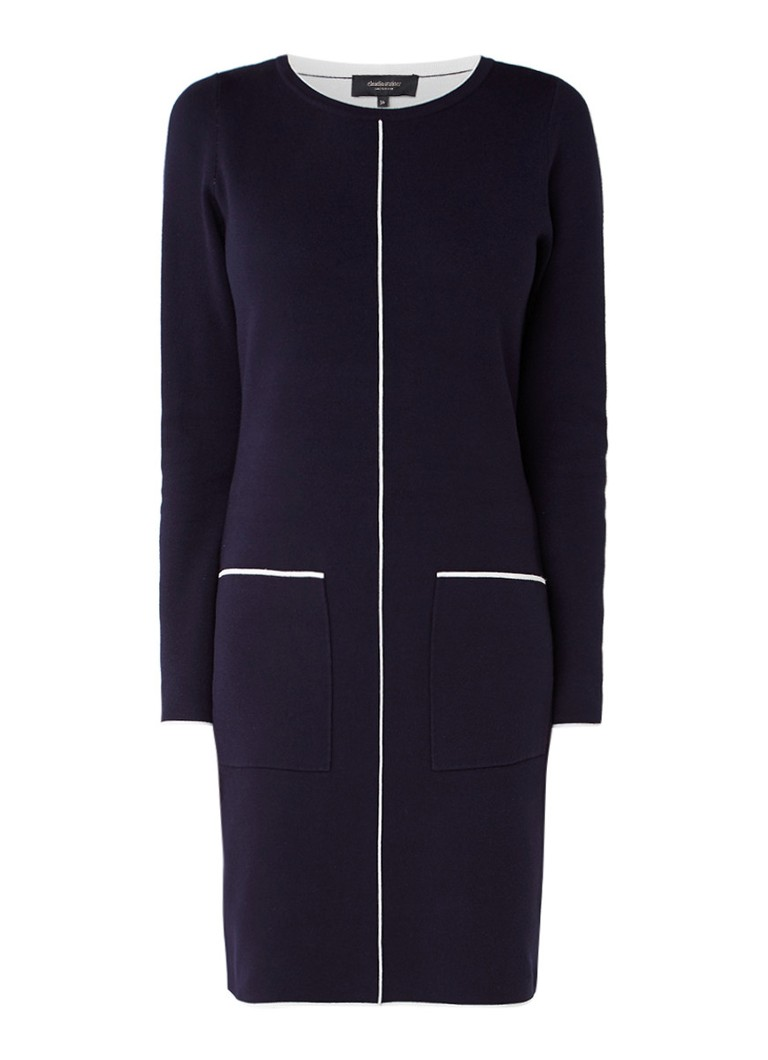Claudia Sträter Fijngebreide midi-jurk met contrasterende boorden donkerblauw
