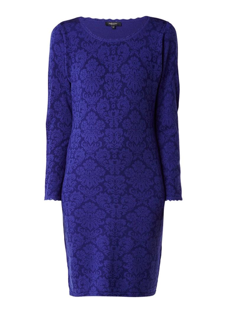 Claudia Sträter Gebreide midi-jurk van merinowol met gehaakte boorden en dessin kobaltblauw