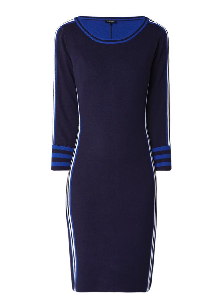 Claudia Sträter Fijngebreide jurk met gestreepte bies donkerblauw