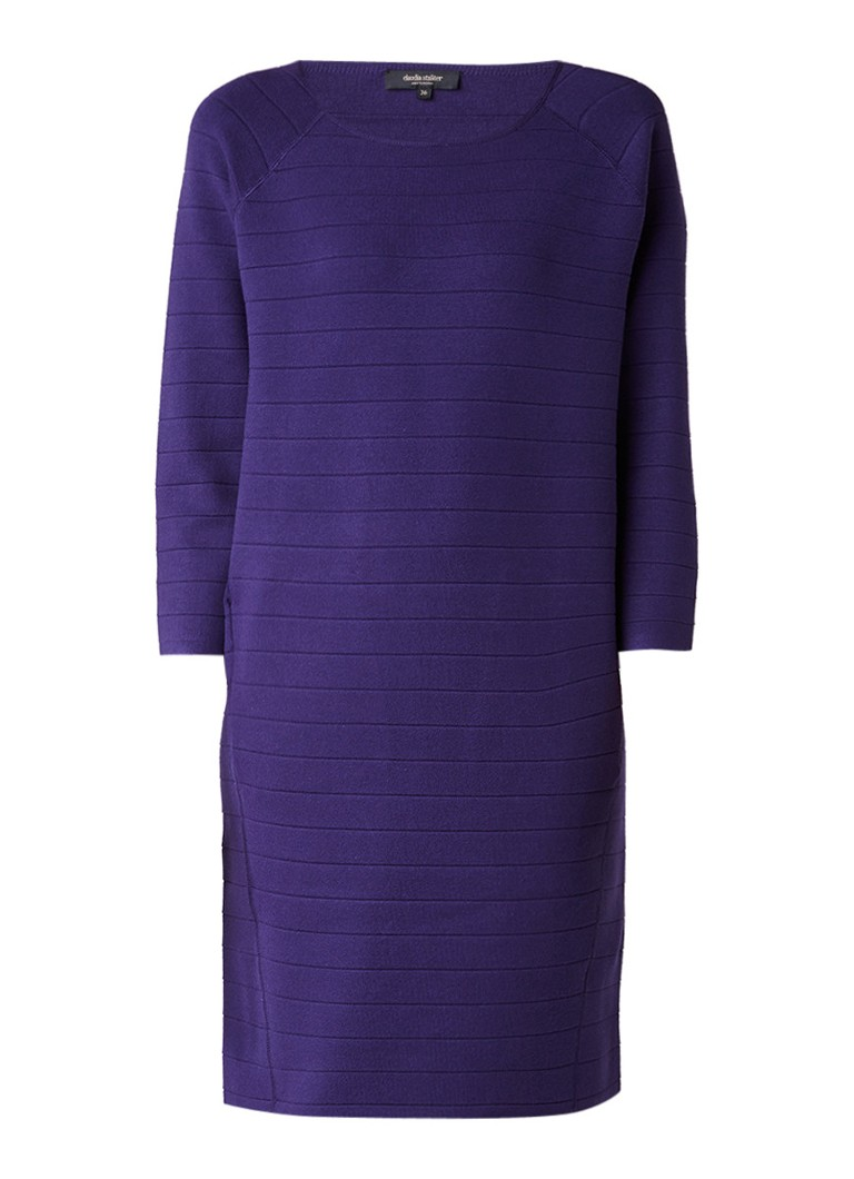 Claudia Sträter Jersey jurk met halflange mouw en ingebreid streepdessin paars
