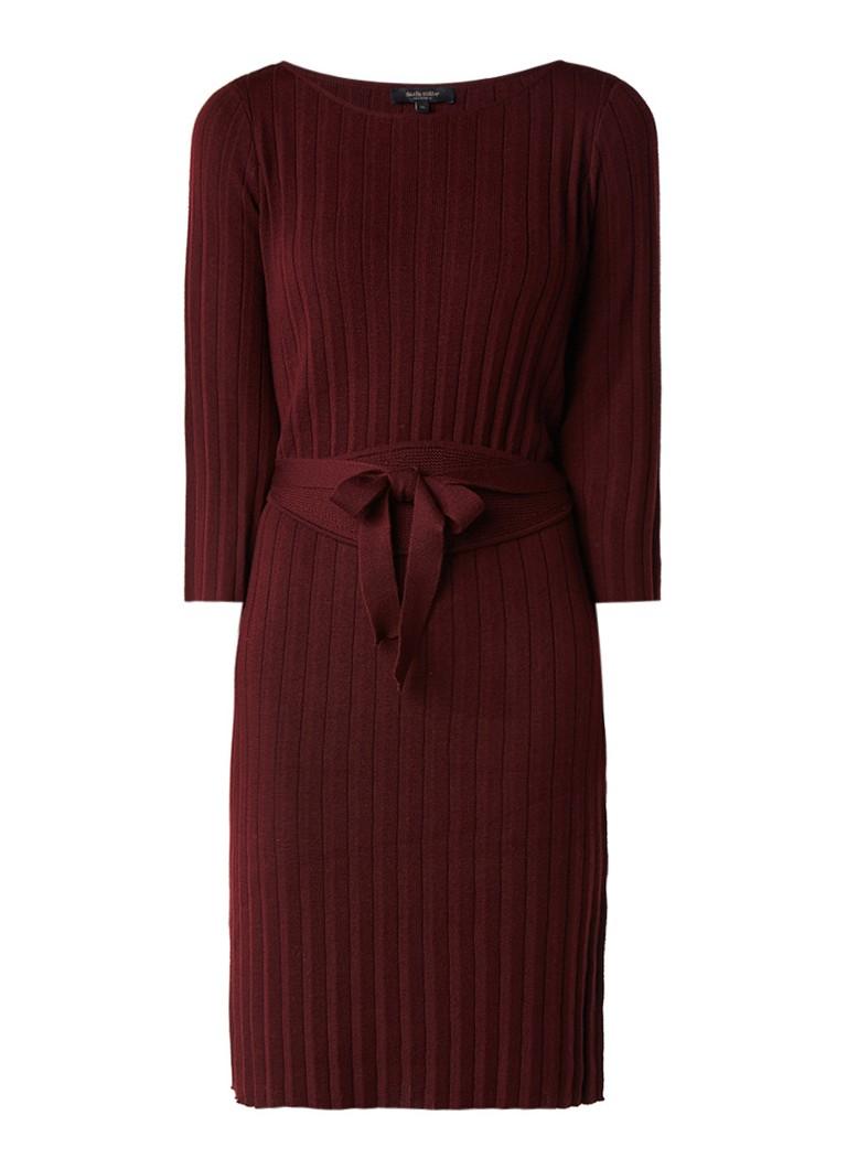 Claudia Sträter Ribgebreide trui-jurk van merinowol bordeaux