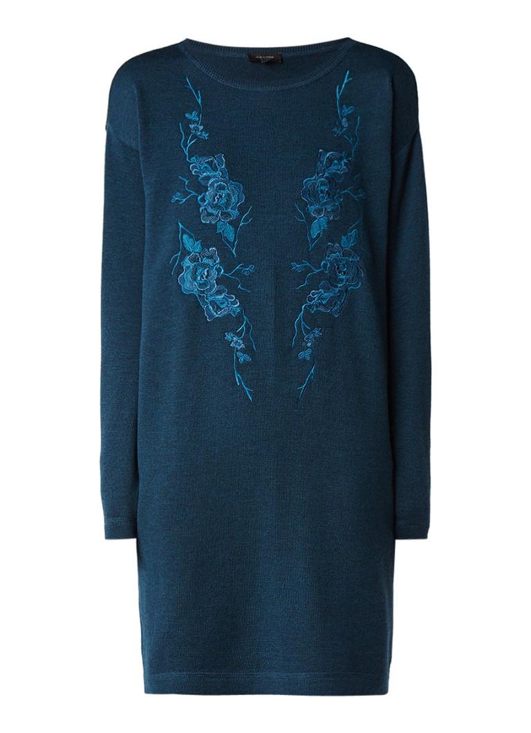Claudia Sträter Fijngebreide trui-jurk met geborduurde bloemen petrol